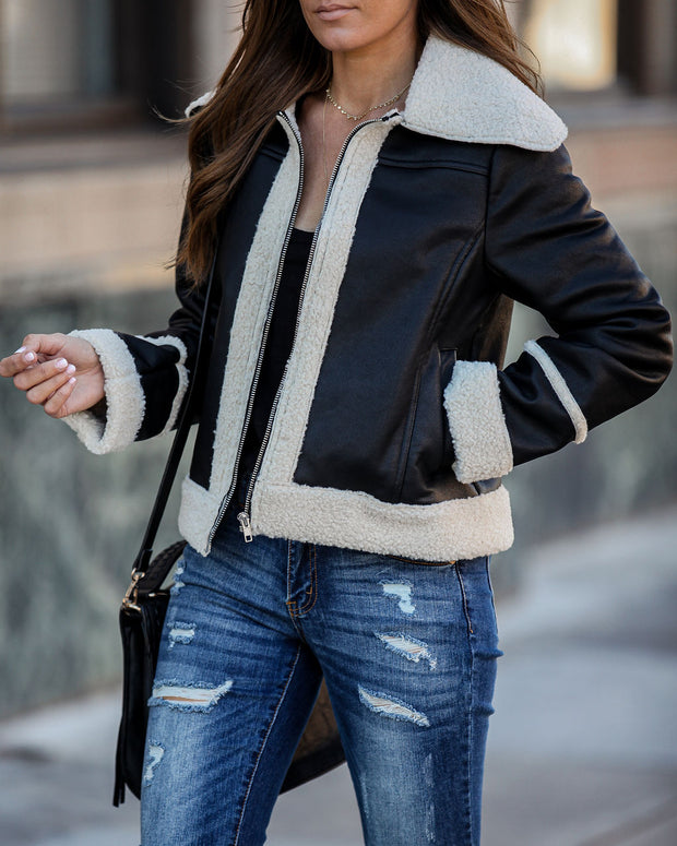 Rockford Pocketed Faux Leather Sherpa Jacket - FINAL SALE
