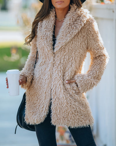 Deck The Halls Pocketed Faux Fur Coat