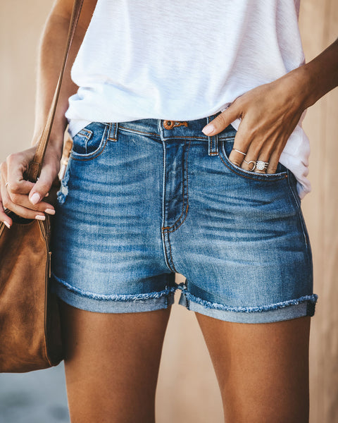 Tomboy High Rise Cuffed Denim Shorts