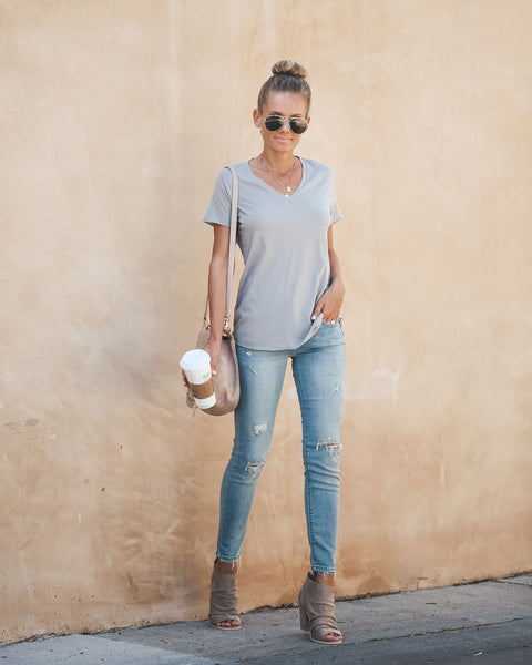 Sammy V-Neck Tee - Light Grey