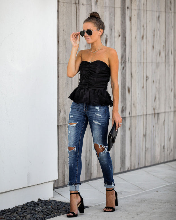 Our Song Strapless Peplum Top - Black  - FINAL SALE