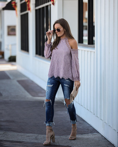 Going To The Chapel Lace Blouse - Mauve - FINAL SALE