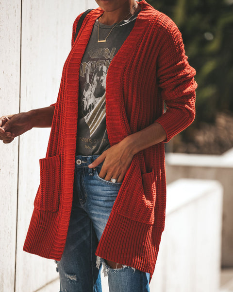 Harper Pocketed Knit Cardigan - Rust