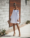 Cloud Kisses Cotton Off The Shoulder Dress