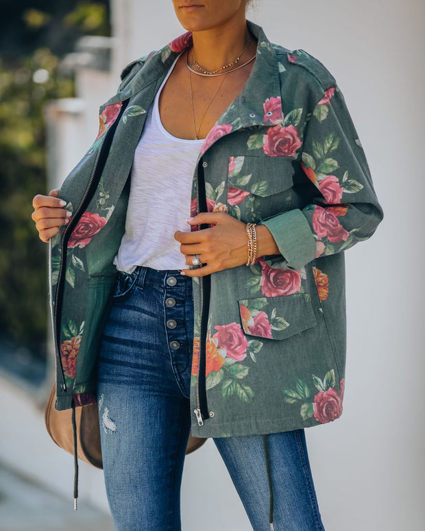 Donovan Cotton Blend Pocketed Floral Army Jacket