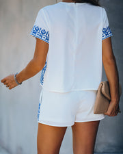 Faiza Embroidered Short Sleeve Top