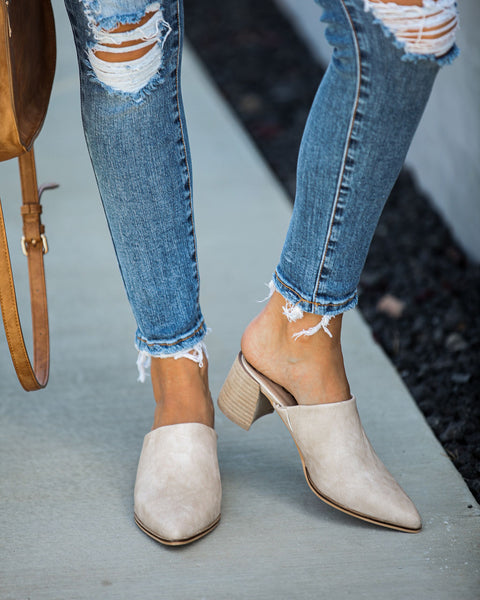 Jessi Faux Leather Pointed Mule - Nude - FINAL SALE