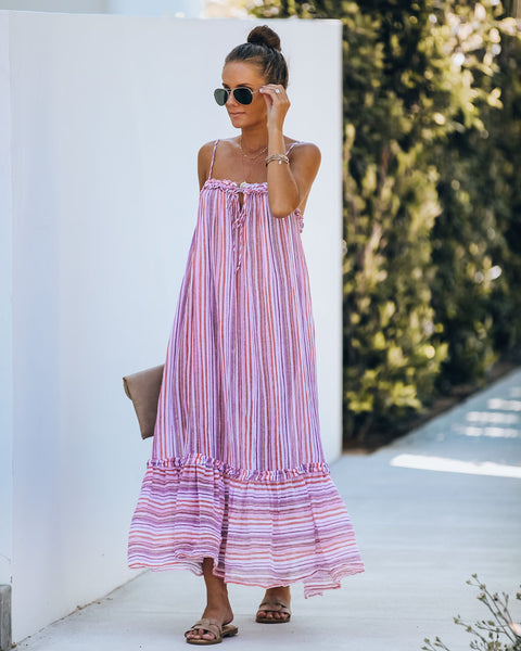 Zita Striped Ruffle Midi Dress