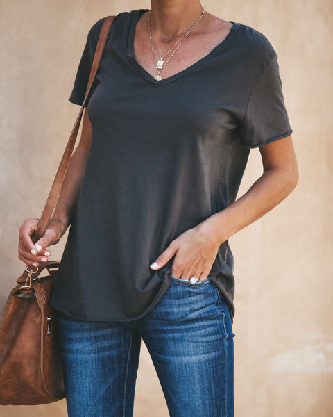 Sammy V-Neck Tee - Charcoal