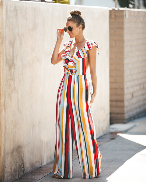 Primary Interest Striped Jumpsuit