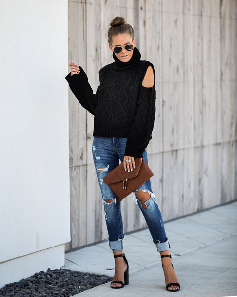Hot And Cold Shoulder Turtleneck Sweater - Black - FINAL SALE