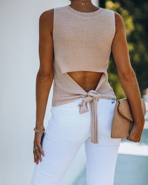 Ellie Sleeveless Knit Tie Top - Blush - FINAL SALE