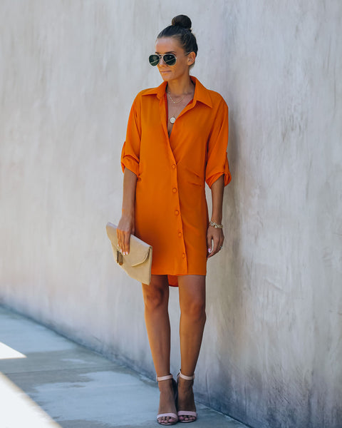 Falcon Button Down Wrap Shirt Dress - Orange