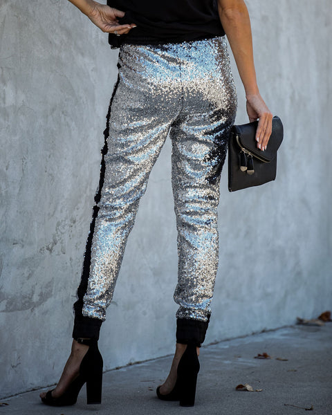 Glitter Gang Sequin And Satin Joggers - Silver - FINAL SALE