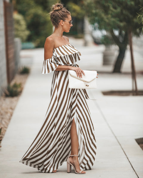 Eclipse Striped Wrap Maxi Dress