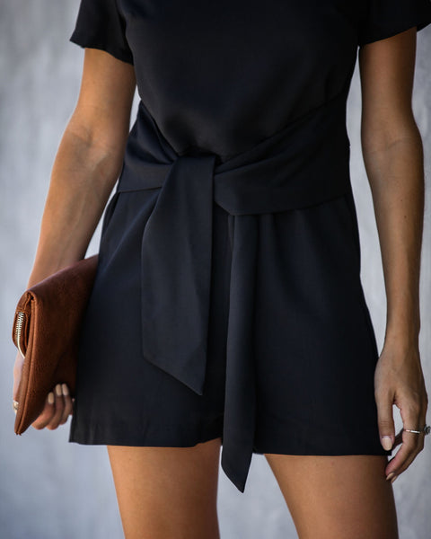Risky Business Tie Front Romper - Black - FINAL SALE
