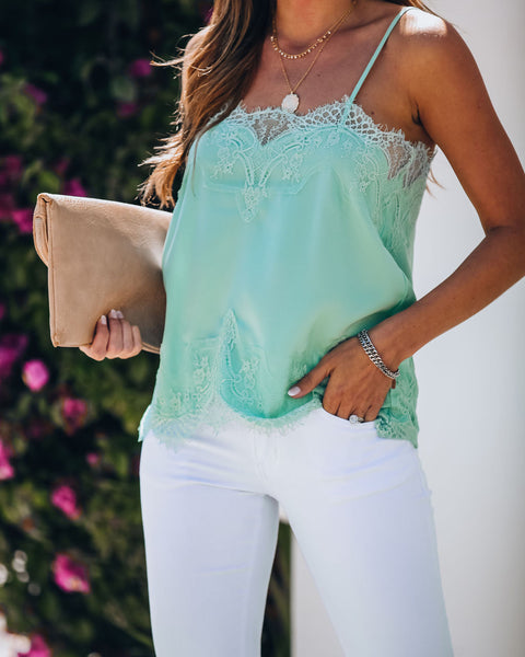 Sweet Nothings Lace Cami Tank - Mint