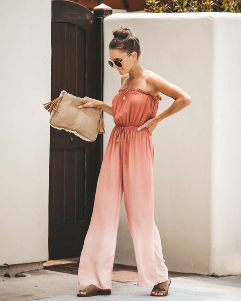 Summer Nights Ombre Strapless Jumpsuit - Brick - FINAL SALE