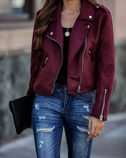 Mission District Pocketed Faux Suede Moto Jacket - Wine
