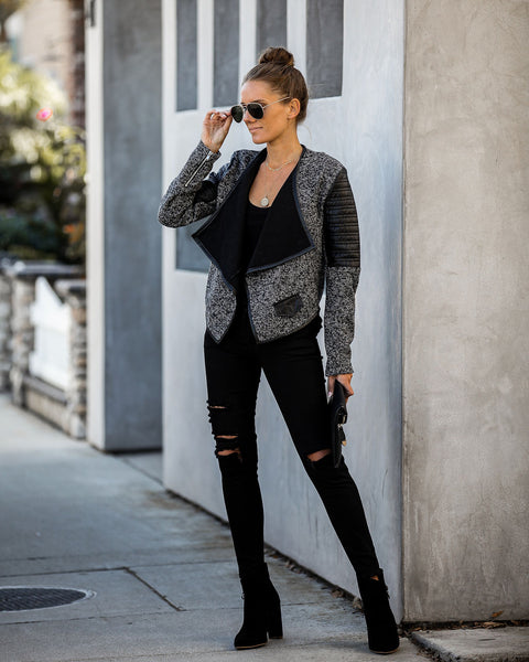 Atlanta Pocketed Faux Leather Contrast Knit Jacket