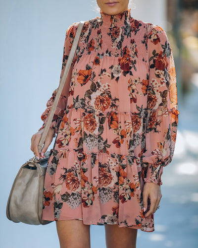 Ladylike Floral Smocked Ruffle Tiered Tunic