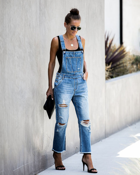 Candid Moments Cotton Pocketed Distressed Overalls