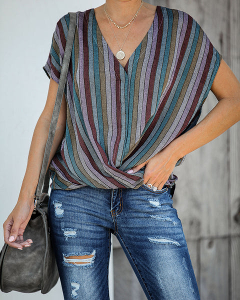 Viva La Vida Striped Shimmer Drape Blouse - FINAL SALE
