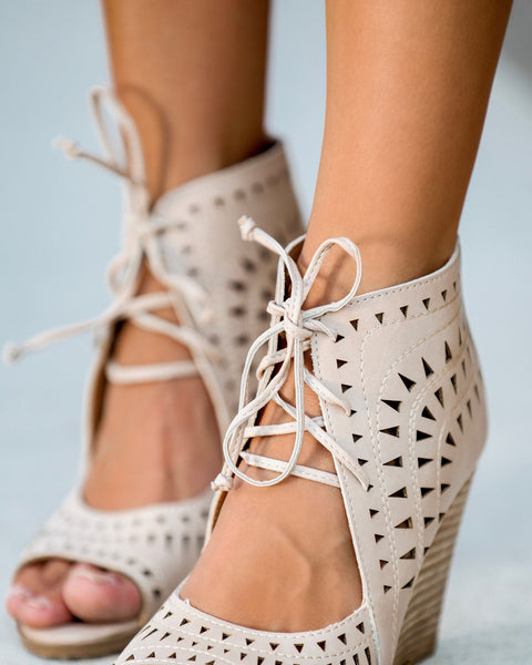 Auden Laser Cut Wedge - Natural - FINAL SALE
