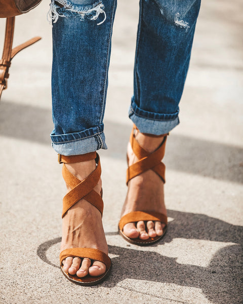 Rooftop Faux Suede Strappy Heeled Sandals - Tan - FINAL SALE