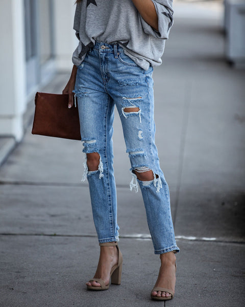 Contract High Rise Distressed Denim