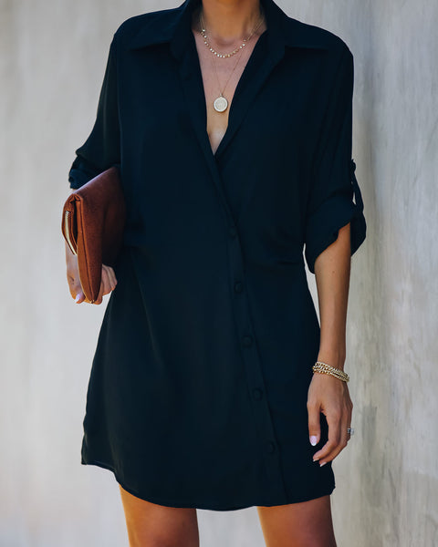 Falcon Button Down Wrap Shirt Dress - Black
