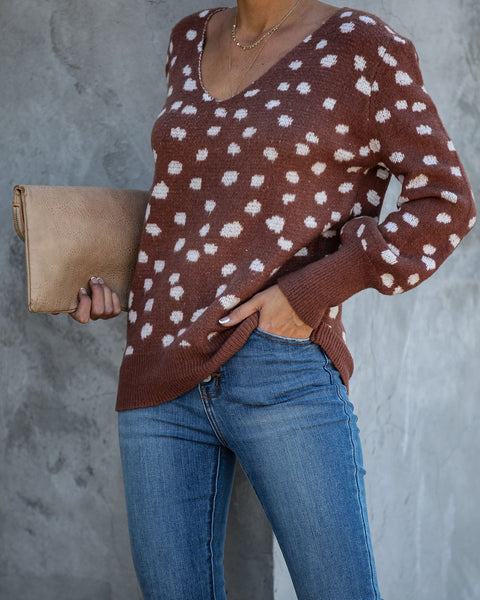 Bambi Spotted Knit Sweater - Chocolate - FINAL SALE