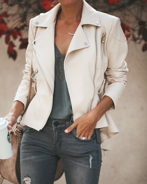 Casablanca Faux Leather Statement Jacket - Beige