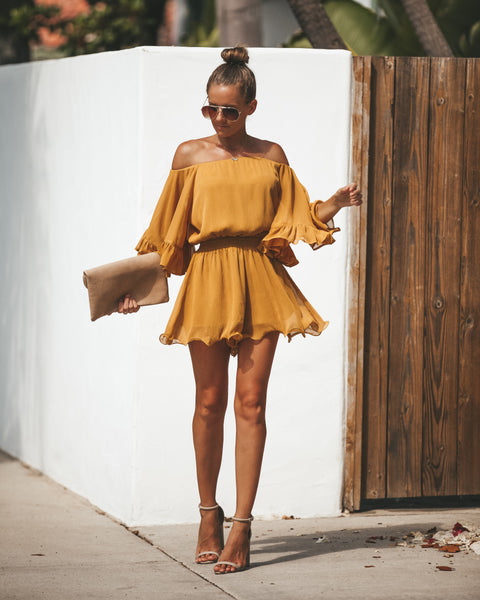 Definitely Demure Off The Shoulder Chiffon Romper - Honey - FINAL SALE
