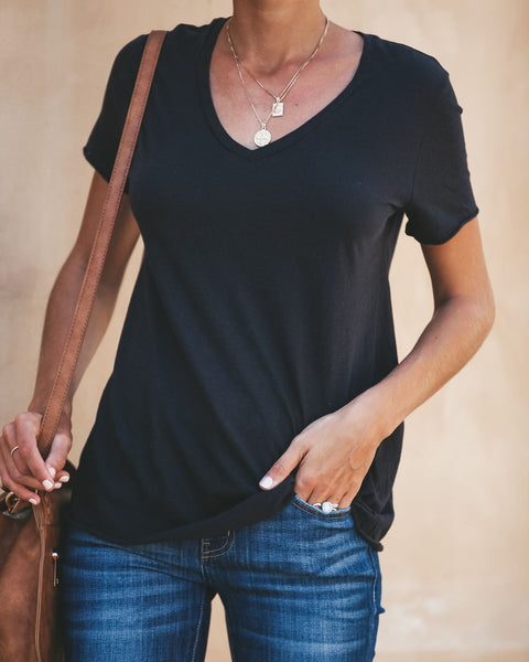 Sammy V-Neck Tee - Black