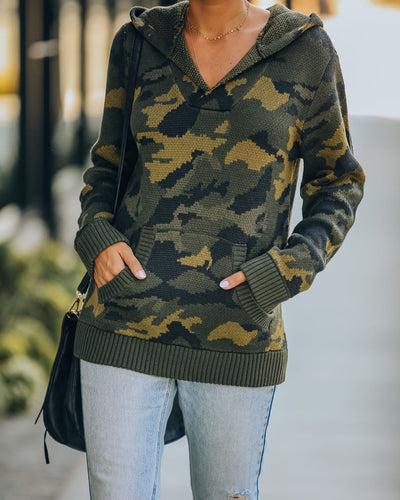 Lifesaver Cotton Blend Pocketed Knit Camo Hoodie