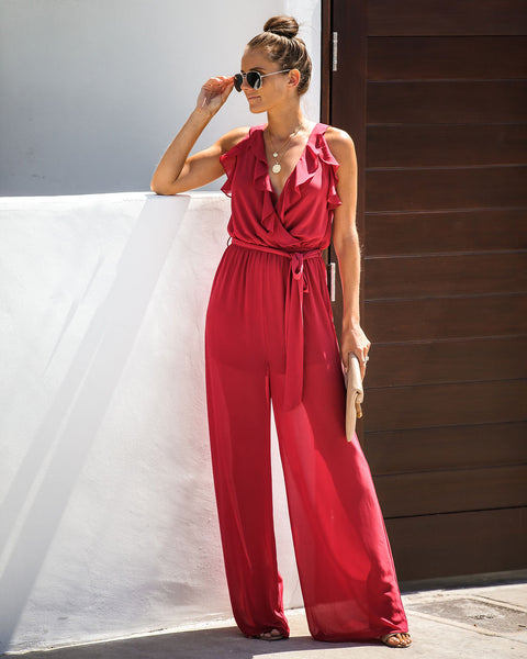 Savannah Sunsets Ruffle Tie Jumpsuit - Sienna - FINAL SALE