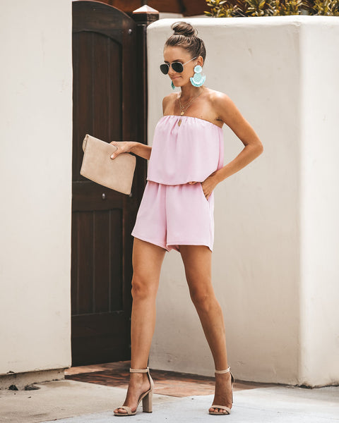 Oh Hello Strapless Pocketed Romper - Mauve
