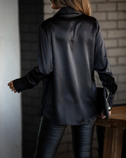 PREORDER - Problem Solved Satin Collared Drape Blouse - Black
