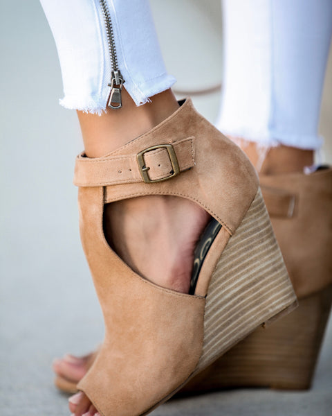Matisse Faux Suede Peep Toe Wedge - Toffee - FINAL SALE