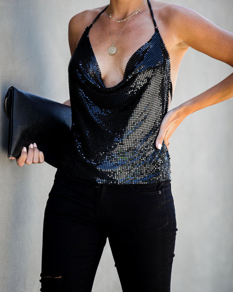 For The Applause Rhinestone Mesh Statement Top
