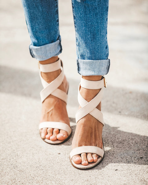 Rooftop Faux Suede Strappy Heeled Sandals - Nude