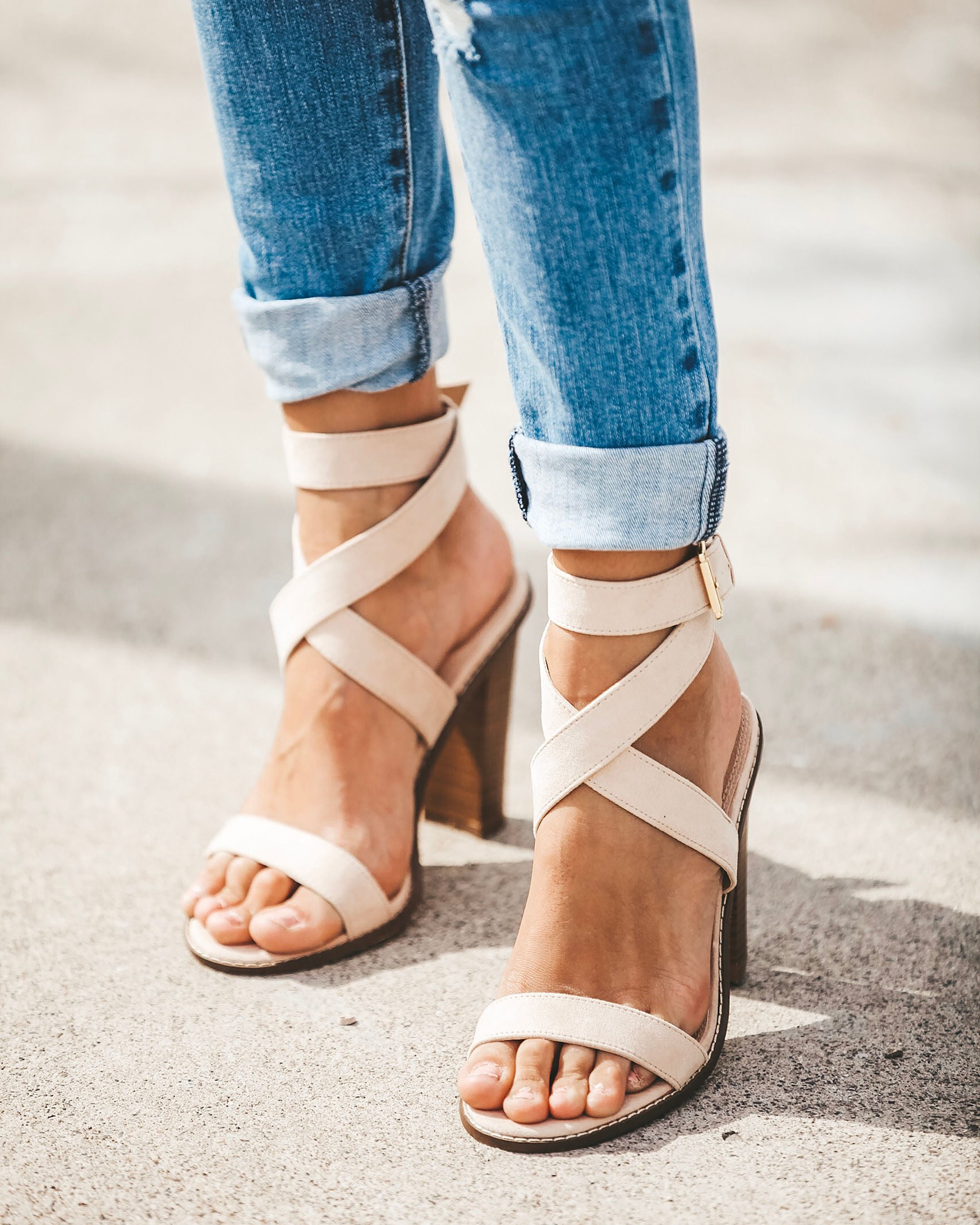 54f91bfbfbd Rooftop Faux Suede Strappy Heeled Sandals - Nude – VICI