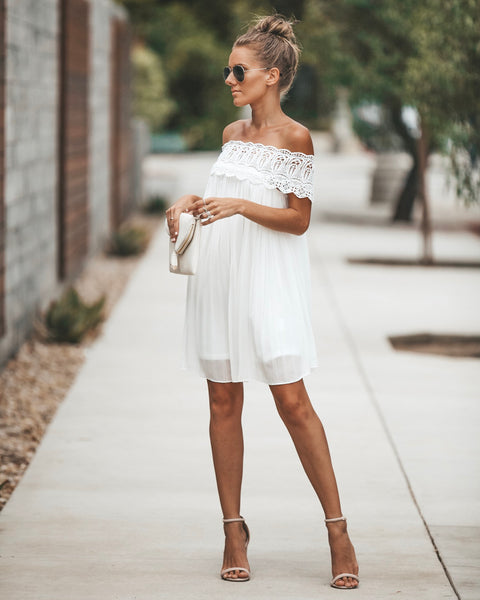 Ode To Joy Off The Shoulder Pleated Dress