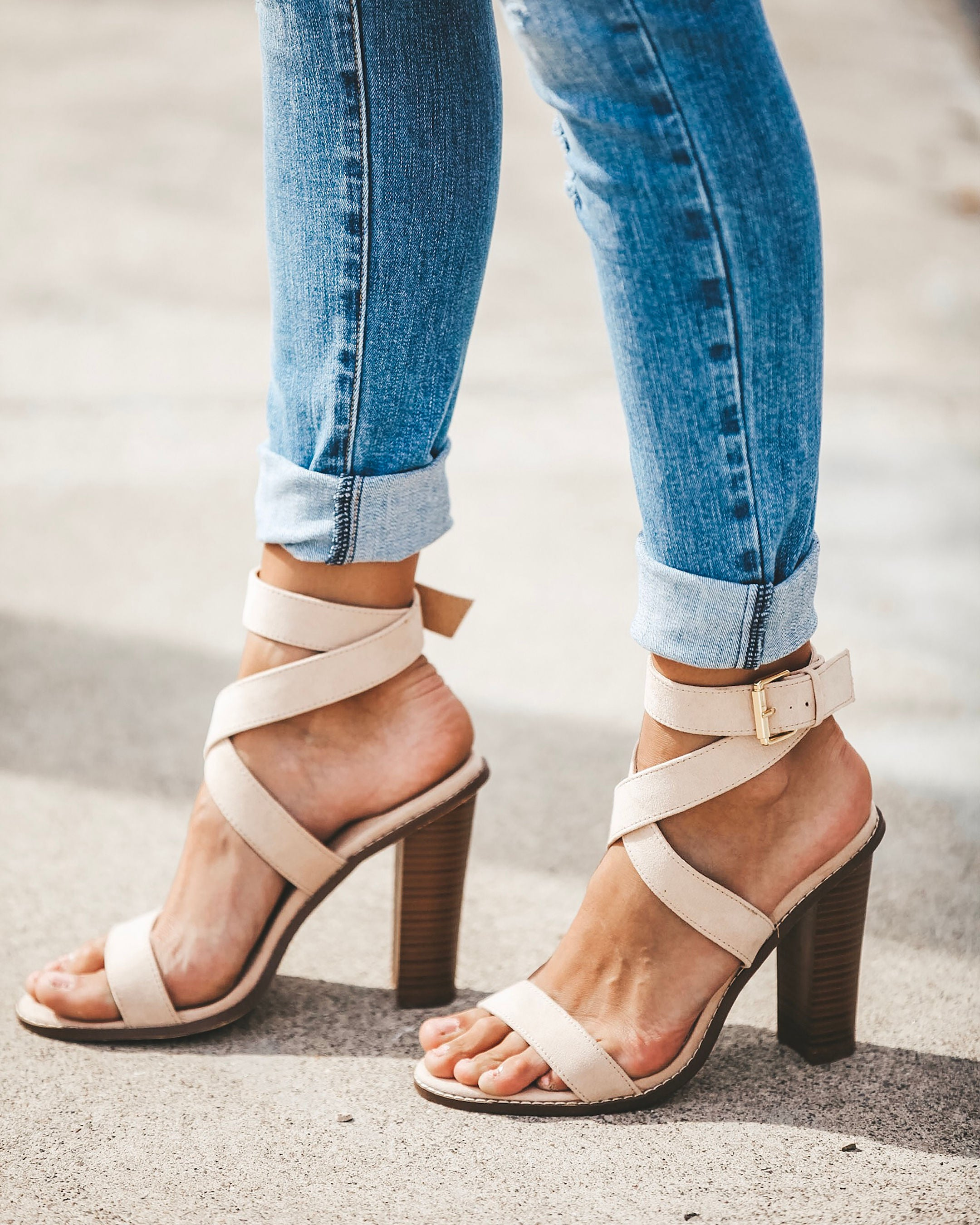 7514cc7d13b Rooftop Faux Suede Strappy Heeled Sandals - Nude – VICI