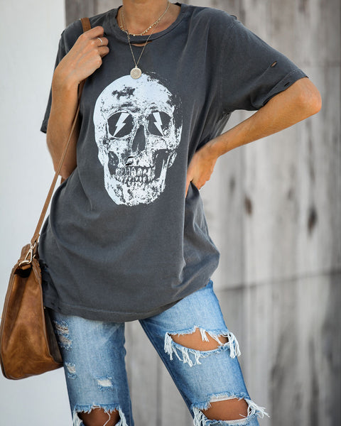 Strike My Interest Distressed Cotton Tee