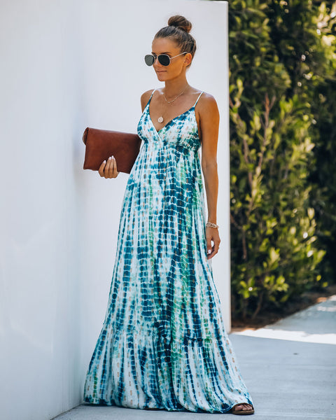 Message In A Bottle Metallic Tie Dye Maxi Dress