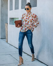 Damian Smocked Floral Puff Sleeve Blouse