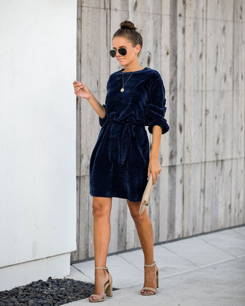 Hold Hands Chenille Sweater Dress - Navy
