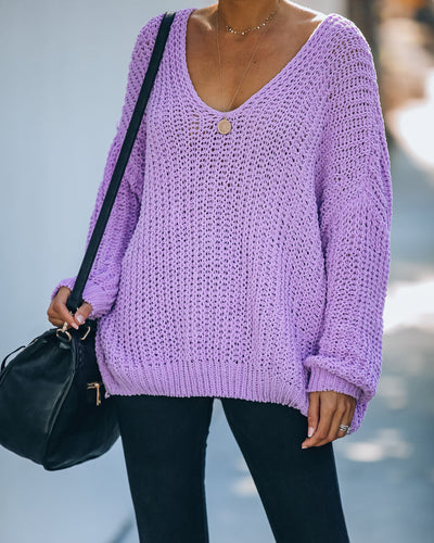 Pinky Promise Cotton Blend Knit Sweater - Lavender